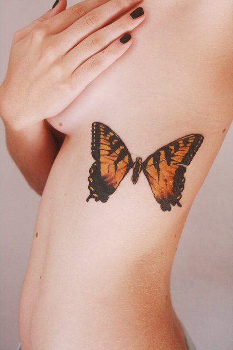 Butterfly Rib Tattoo For Women