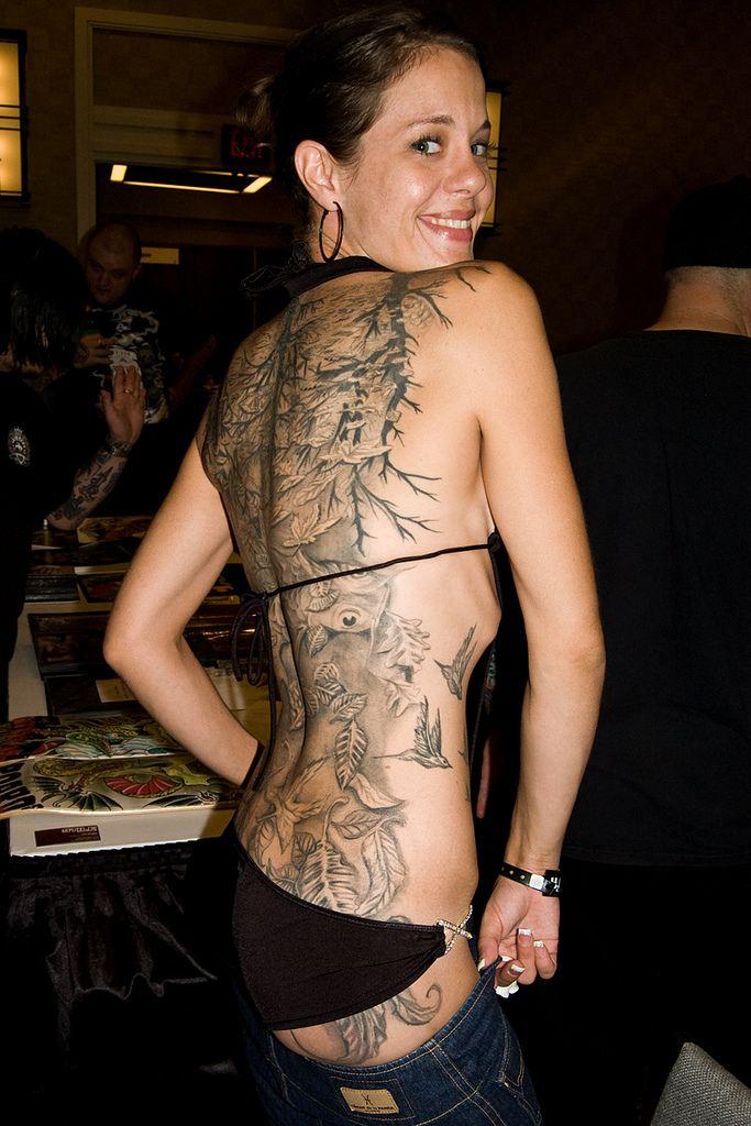 Pretty Woman Full Back Tattoo Design
