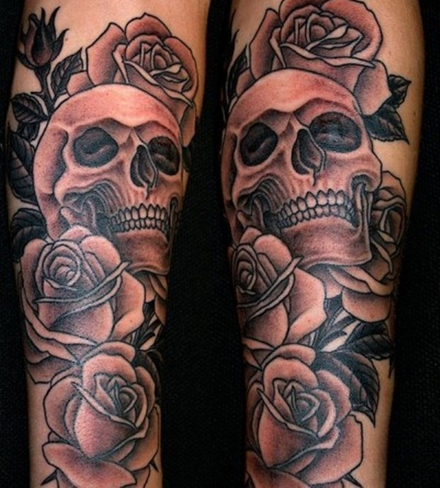 Skull And Roses Sleeve Tattoo