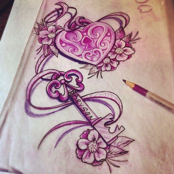 30 Unique Key Tattoo Designs for Boys and Girls Heart Lock Chest Tattoos For Women