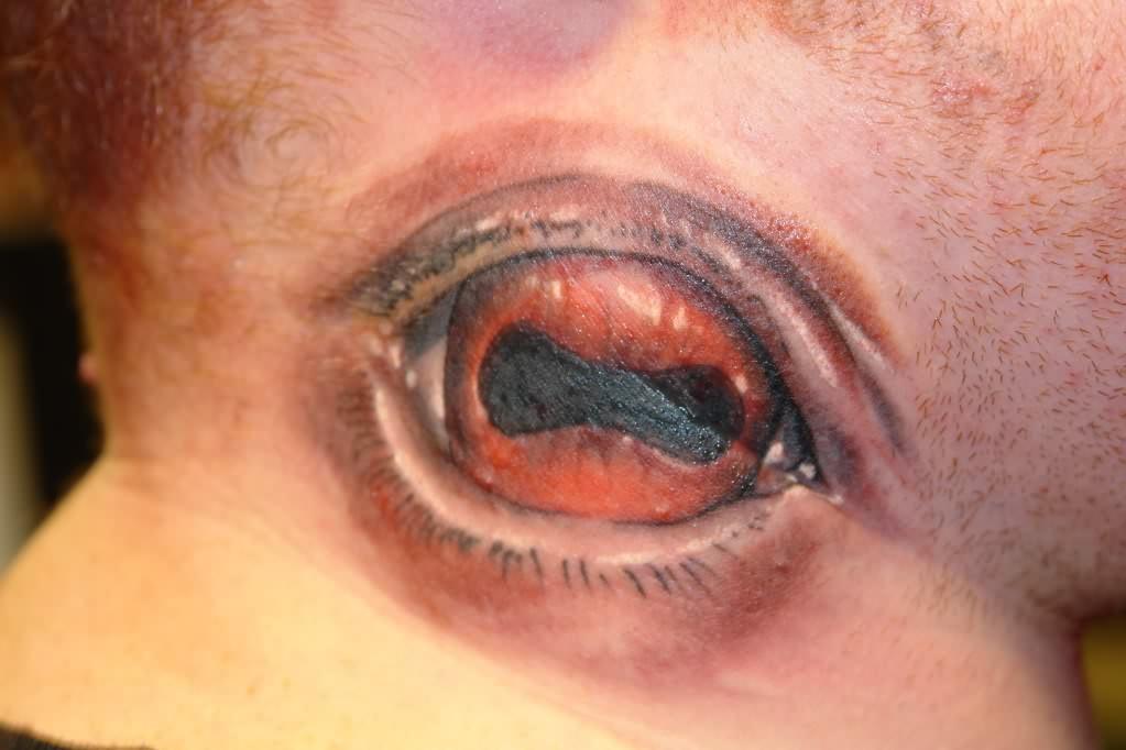 3D Eye Tattoo on Neck