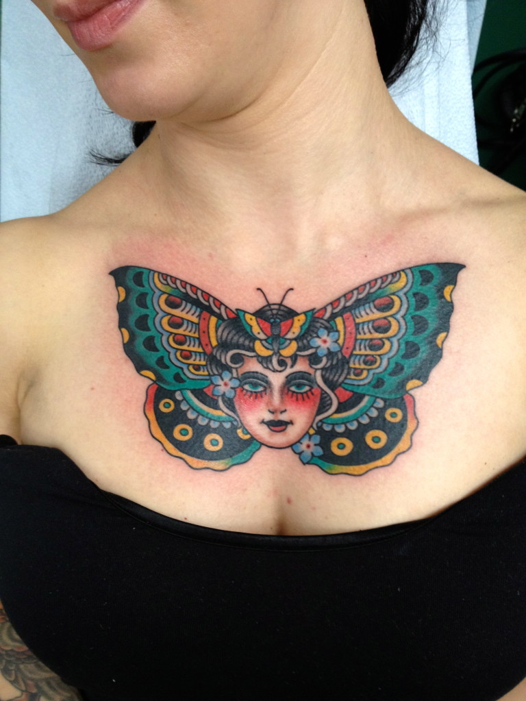 Chest Butterfly Tattoos for Women