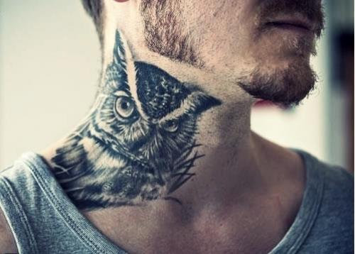 Owl Tattoo on Neck