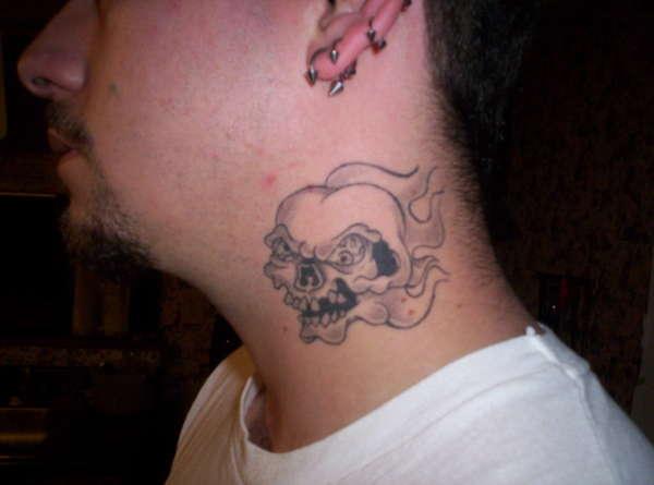 Skull Tattoo on Neck