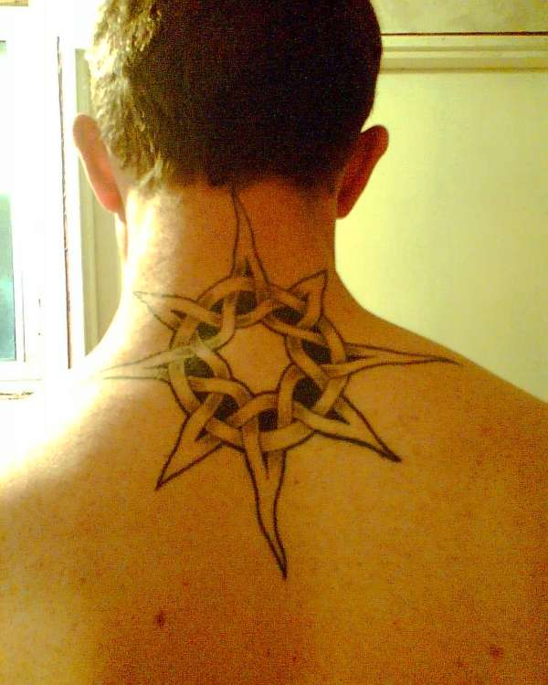 Sun Tattoo on Neck