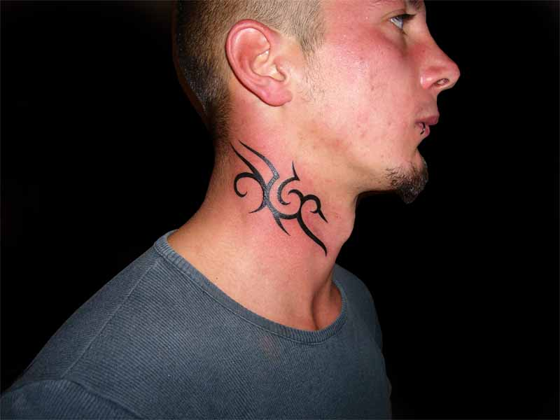 Tribal Neck Tattoo for Men