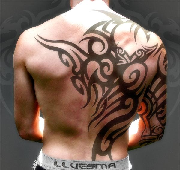 Upper Back Tribal Tattoo Design