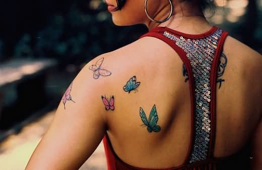 Upper Shoulder Butterfly Tattoo