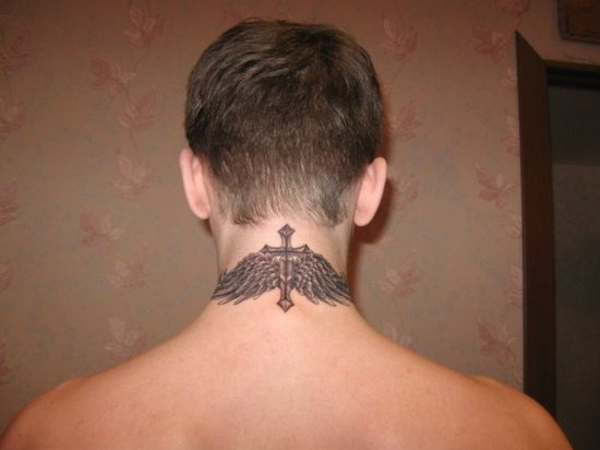 Wings Neck Tattoo Design for Men