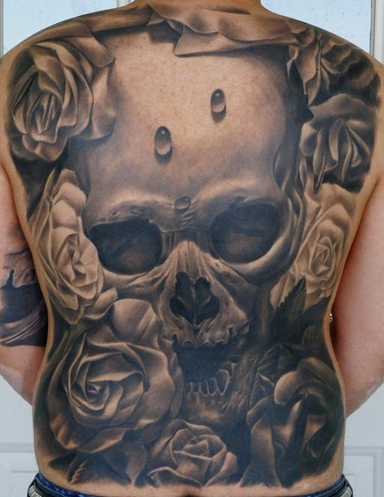 3D full Back Best Skull Tattoo1