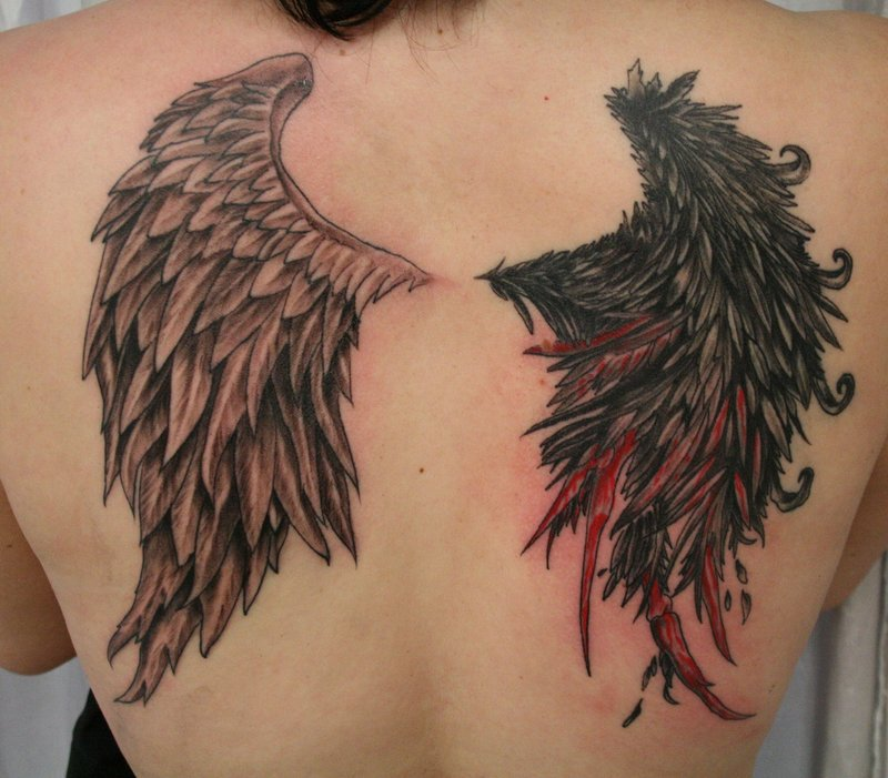 Angel Devil Bloody Wing Tattoo