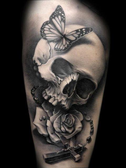 Butterfly Skull Cross Rose Tattoo2