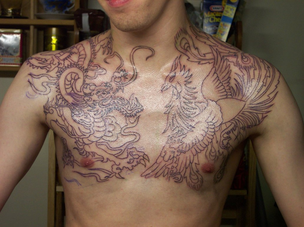 Chest tattoo designs for men - Dragon Chest Tattoo