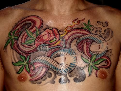 Snake Tattoo On Chest