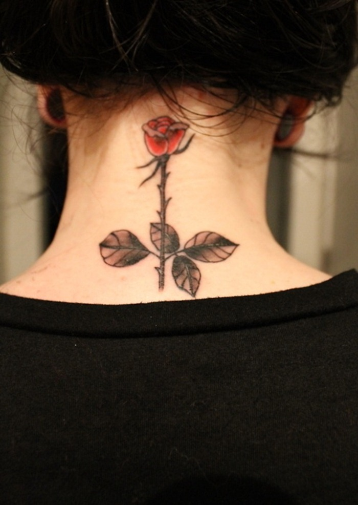 Rose Tattoo on neck