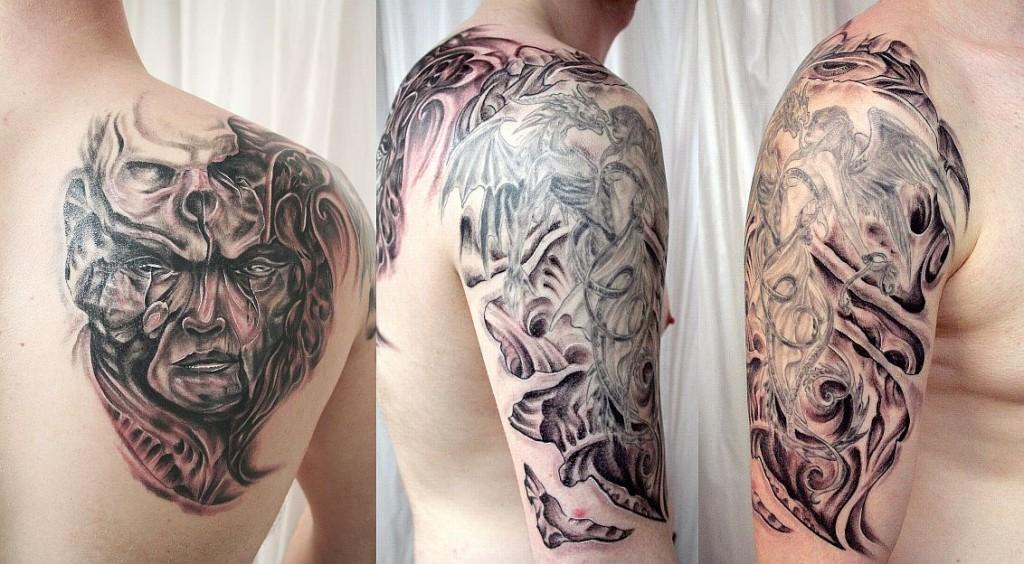 BMechanic Horror Sleeve Tattoo