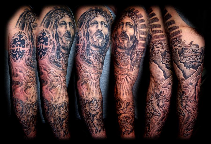 Religious sleeve Tattoo