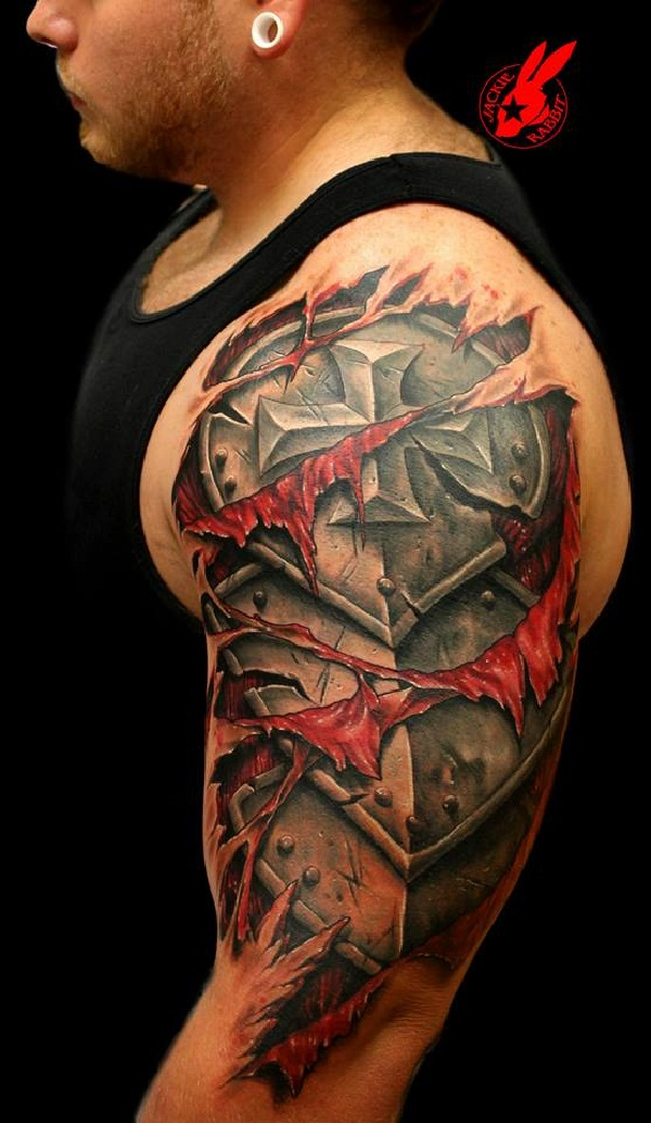 Armor Plate Skin Tear Out Tattoo