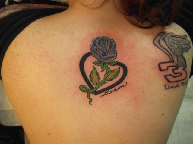 Heart and Rose Tattoos For Women
