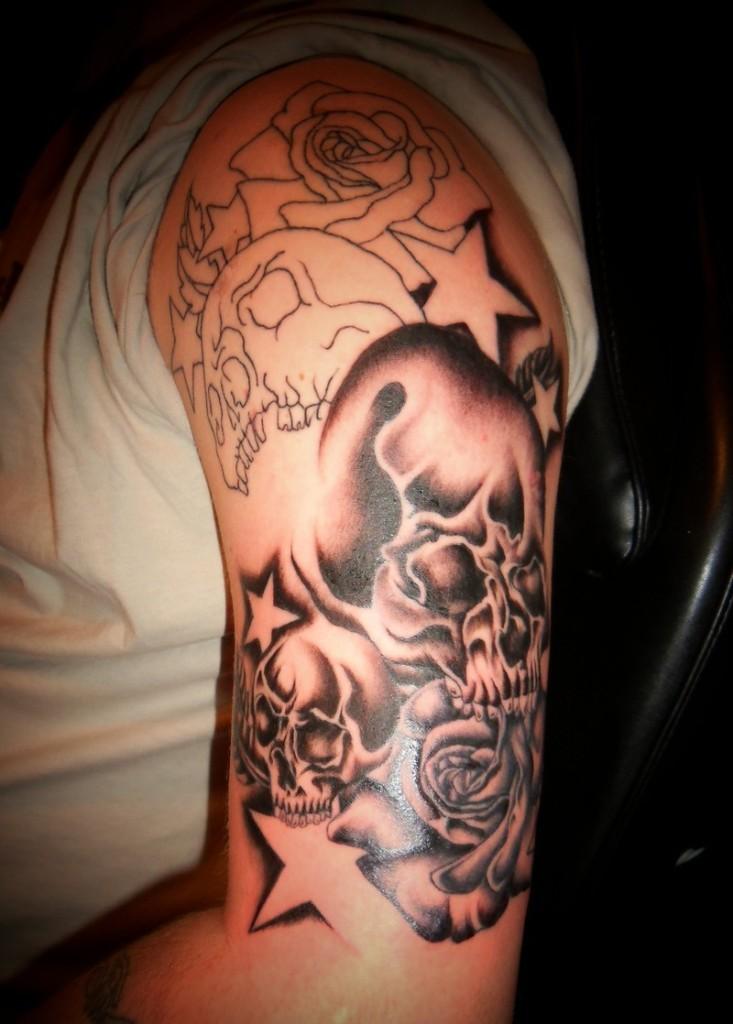 Black and White Skull Tattoo for men in 2015
