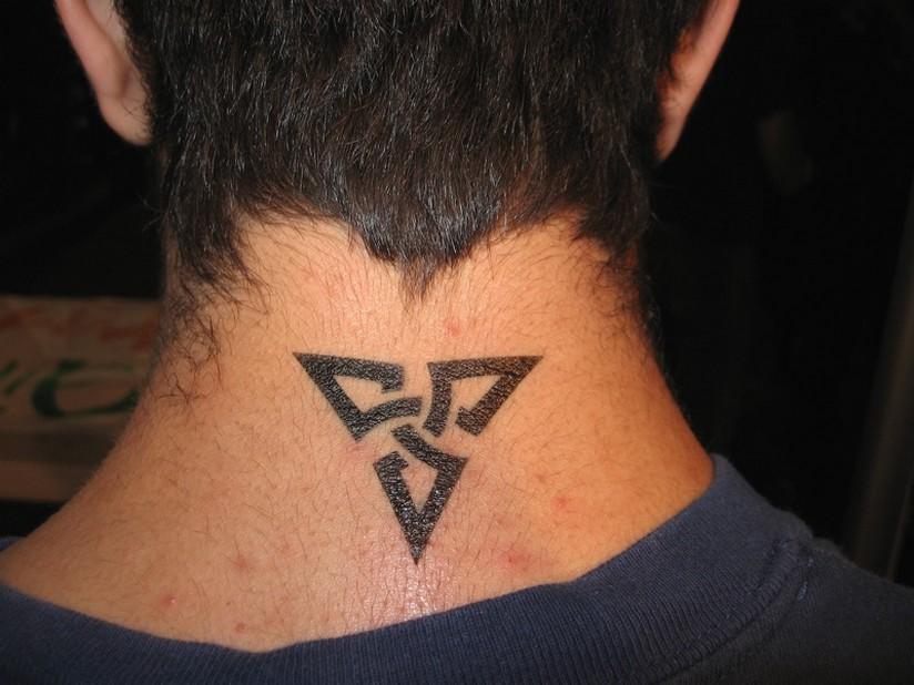 neck tribal tattoo for men
