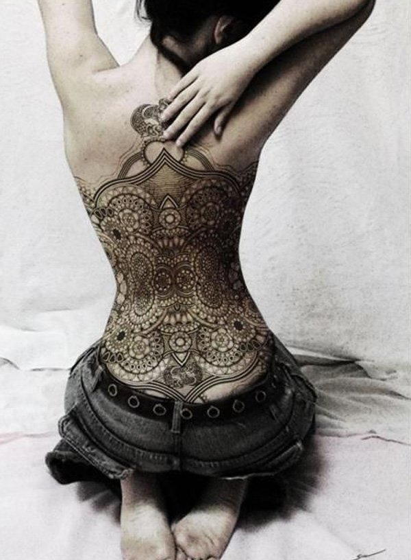 Full back lace tattoo design