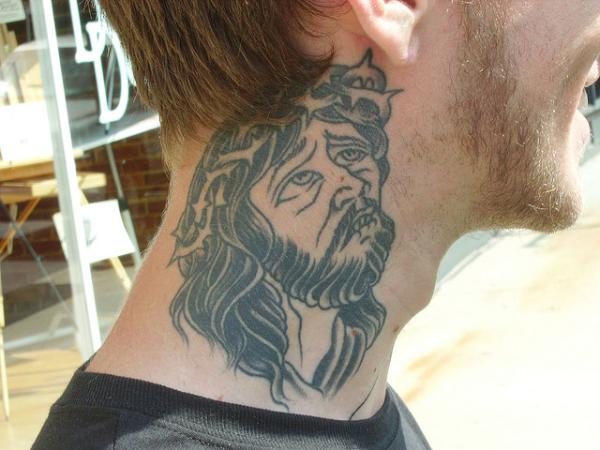 Neck Tattoo Design for men 92