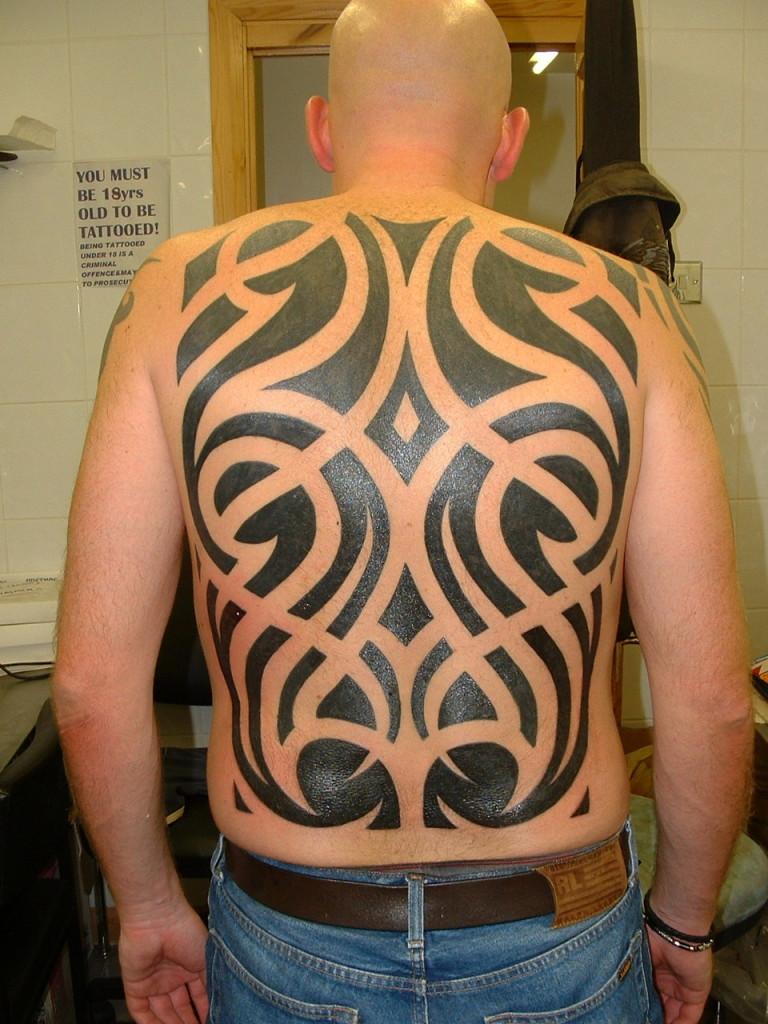 Tribal Back Tattoo for men