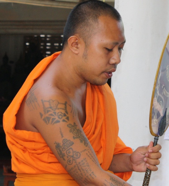 Tattooed Thai Buddhist Monk
