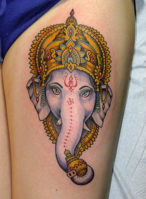 tattoo ganesh ganesha elephant indian designs tattoos lord head god thigh hindu tatoo foster erich pretty done forearm lovely left