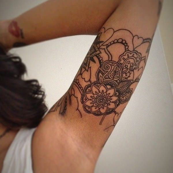 92cf71fd3 These design features can be used in tattoos with other shapes like the one  below however they are not true Mandala tattoos because they lack the  radiating ...